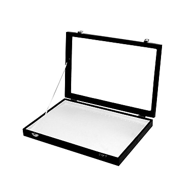 Futech – Plateau à bracelets/colliers avec couvercle en verre JBOX-N21WL, plateau noir/intérieur blanc, paq./2