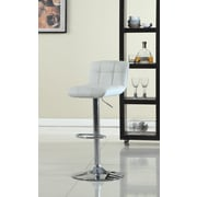 Hokku Designs Blanche Adjustable Height Swivel Bar Stool with Cushion; White