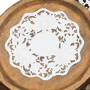 Xia Home Fashions Daisy Garden Embroidered Cutwork Round Doily (Set of 4); 16''