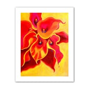 ArtWall 'Red Calla Shadow' by Susi Franco Painting Print on Canvas; 48'' H x 36'' W
