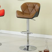 Hokku Designs Reza Adjustable Height Swivel Bar Stool with Cushion; Camel