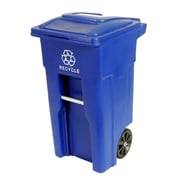 Toter Residential Heavy Duty Two Wheeled Recycling Container Cart with Attached Lid; 32 Gallon