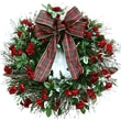 Dried Flowers and Wreaths LLC All-Weather Tartan Rose Wreath