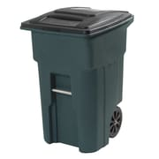 Toter 32-Gal Residential Heavy Duty Two Wheeled Trash Container Cart with Attached Lid