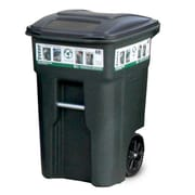 Toter Residential Heavy Duty Two Wheeled Trash Container Cart with Attached Lid; 48 Gallon