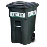 Toter Residential Heavy Duty Two Wheeled Trash Container Cart with Attached Lid; 64 Gallon