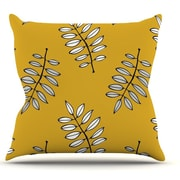 KESS InHouse Pagoda Leaf Gold by Laurie Baars Leaves Throw Pillow; 18'' H x 18'' W x 3'' D
