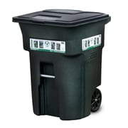 Toter Residential Heavy Duty Two Wheeled Trash Container Cart with Attached Lid; 96 Gallon
