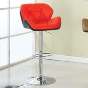 Hokku Designs Reza Adjustable Height Swivel Bar Stool with Cushion; Red