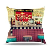 KESS InHouse Retro Diner by Sylvia Cook Coca Cola Throw Pillow; 20'' H x 20'' W x 4'' D