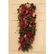 Floral Home Decor Burgundy and Pine Door Swag