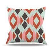 KESS InHouse Coral Mint Triangle Weave by Pellerina Design Throw Pillow; 20'' H x 20'' W x 1'' D