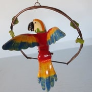 Rustic Arrow Macaw on Ring Statue