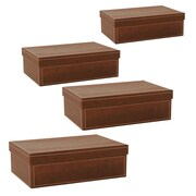 WaldImports Black Paperboard Box w/ Lid (Set of 4); Brown