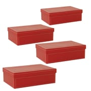 WaldImports Paperboard Box with Lid (Set of 4); Red