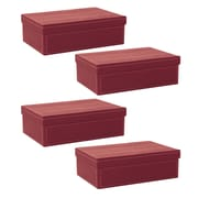 WaldImports Black Paperboard Box w/ Lid (Set of 4); Burgundy
