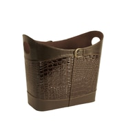 WaldImports Faux Leather Basket; Brown