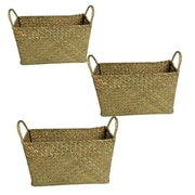 WaldImports Seagrass Reed Basket (Set of 3); Green Wash