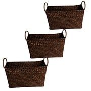 WaldImports Natural Seagrass Reed Basket (Set of 3); Espresso