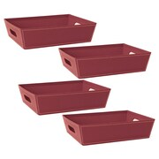 WaldImports 4 Piece Black Paperboard Tray Set (Set of 4); Burgundy