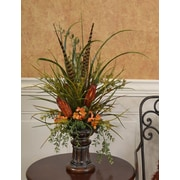 Floral Home Decor Grasses, Feather and Protea Mantel Floral Design