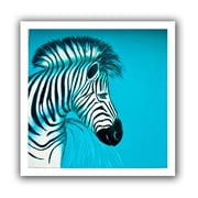 ArtWall 'Zebras Blue' by Lindsey Janich Canvas Poster; 22'' H x 22'' W