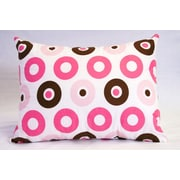 Bacati Mod Dots and Stripes Cotton Boudoir/Breakfast Pillow; Pink / Chocolate