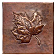 D'Vontz Maple Leaf 4'' x 4'' Copper Tile in Dark Copper