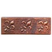 D'Vontz Fleur De Lis 6'' x 2'' Copper Border Tile in Dark Copper