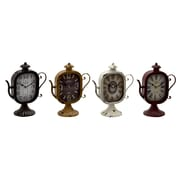 Woodland Imports Captivating and Unique Styled Metal Table Clock (Set of 4)