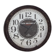 Woodland Imports Oversized 31'' Wood Wall Clock; Black