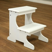 Mega Home 2-Step Wood Step Stool with 200 lb. Load Capacity; White
