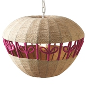 CBK Woven Jute Apple Drum Pendant