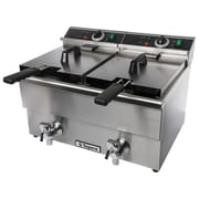 Supera® CDF-12F-1 12 lbs. Double-well Electric Deep Fryer with Faucet