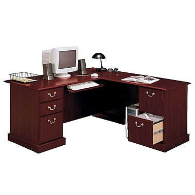 Bush Business Saratoga 66W L-Desk, Harvest Cherry