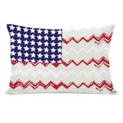One Bella Casa Chevron American Flag Lumbar Pillow