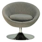 Fox Hill Trading Overman Disc Base Astro Barrel Chair; Light Gray