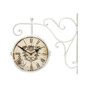 AdecoTrading Vintage-Inspired Round Double-Sided Wall Hanging Clock