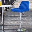 AdecoTrading Adjustable Height Swivel Bar Stool (Set of 2); Bright Blue