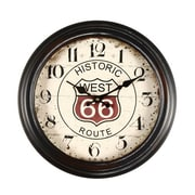 AdecoTrading 14.6'' Round ''Historic West 66 Route'' Wall Hanging Clock