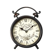 AdecoTrading Vintage-Inspired Roman Numerals ''Cheval Noir'' Alarm Wall Hanging or Table Clock