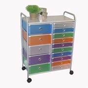 4D Concepts 15 Drawer Multi-Colored Rolling Storage Tower