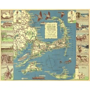 Graffitee Studios 1940 Colonial Craftsman Decorative Map of Cape Cod Graphic Art on Wrapped Canvas