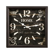 AdecoTrading Vintage-Inspired Distressed Square ''Home'' Scroll and Flower Detail Wall Hanging Clock