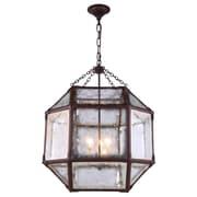 Elegant Lighting Gordon 3 Light Foyer Pendant; Saddle Rust