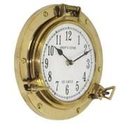 EC World Imports 8.5'' Aged Brass Porthole Wall Clock