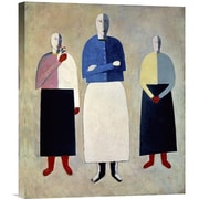 Global Gallery Three Girls by Kazimir Malevich Graphic Art on Wrapped Canvas