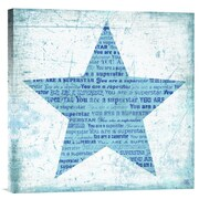 Global Gallery Superstar Blue by Suzanna Anna Textual Art on Wrapped Canvas