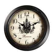AdecoTrading 14.6'' Round ''Carte Postale, Rococo'' Chandelier Detail Wall Hanging Clock