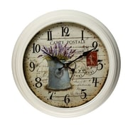 AdecoTrading 14.6'' Round Lilac and Watering Can Detail Wall Hanging Clock